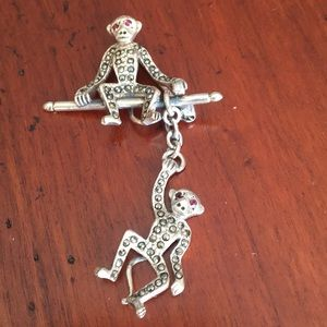 Sterling silver monkey pin